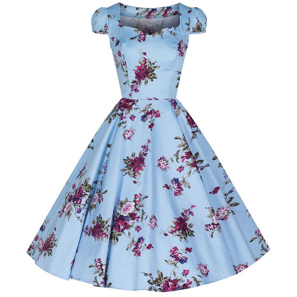 Sky Blue Vintage Floral Blossom Rockabilly Swing Dress | Vintage ...