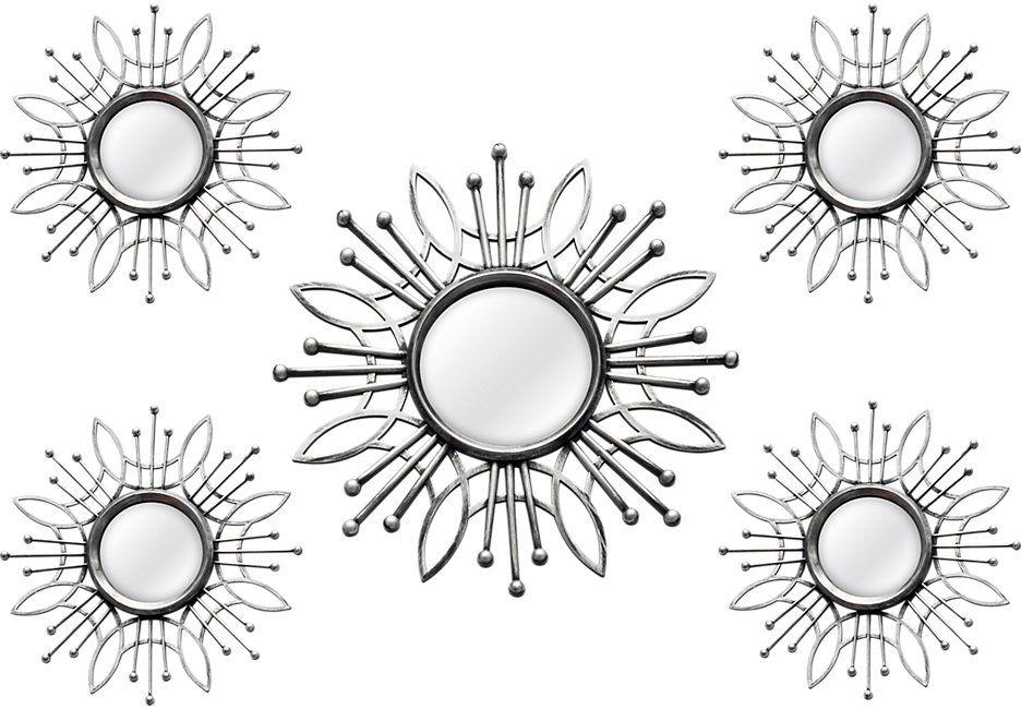 Super Burst Silver Mirrors Set of 5 | Wall mirrors set ...