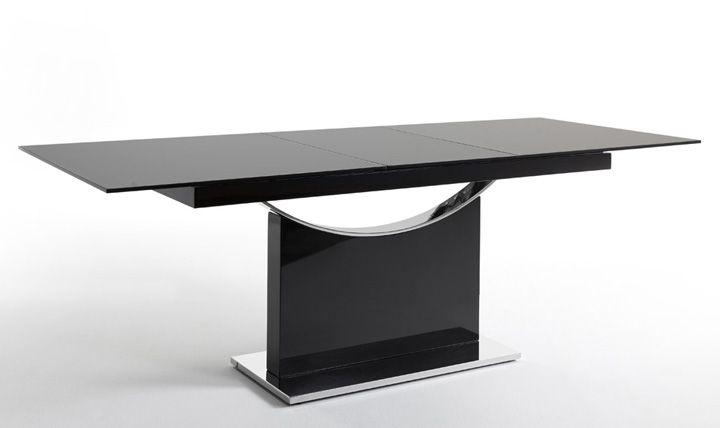 mesa comedor rectangular extensible en cristal templado y base en acero cromado negro aspecto soberbio