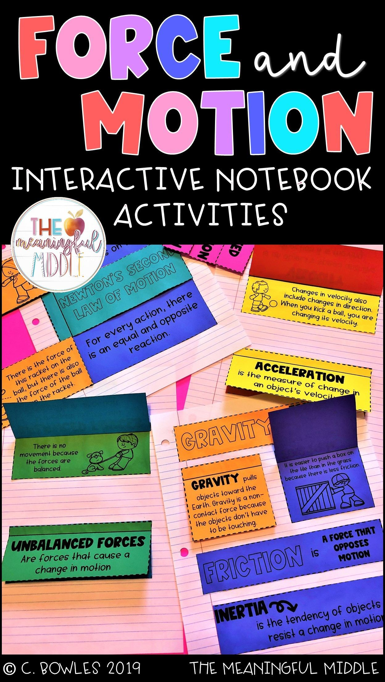 Force And Motion Interactive Notes Notebook Activities For The Fourth Fifth Or Sixth G Force And Motion Interactive Notebooks Interactive Notebook Activities