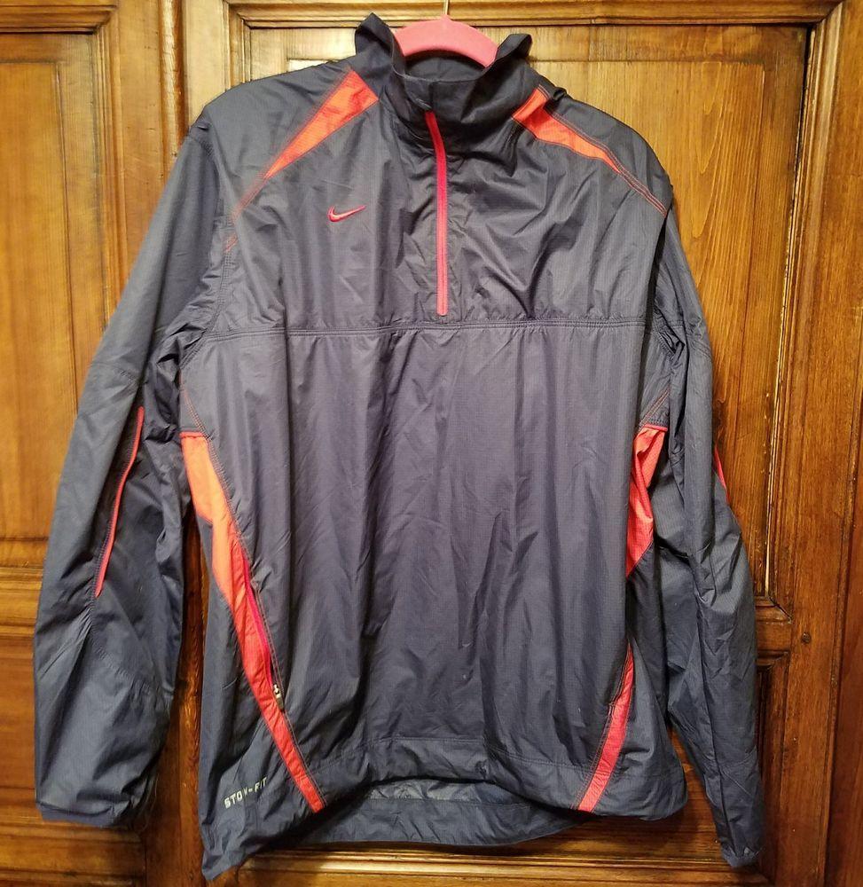 7f5b4ebbf4 NIKE Storm-Fit Men s Light Running Athletic Golf Jacket Navy Red Size M  Vented  Nike  AthleticRunningJacket