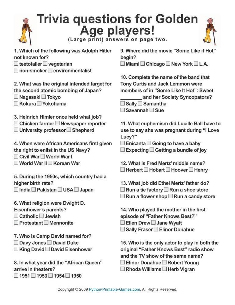 Sly image inside easy printable trivia questions and answers for seniors