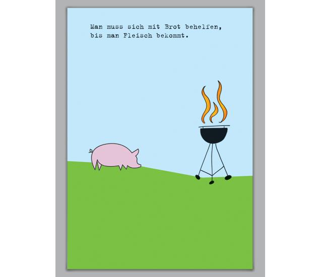 einladungskarte zum grillen mit schwein - http://www.1agrusskarten, Einladung