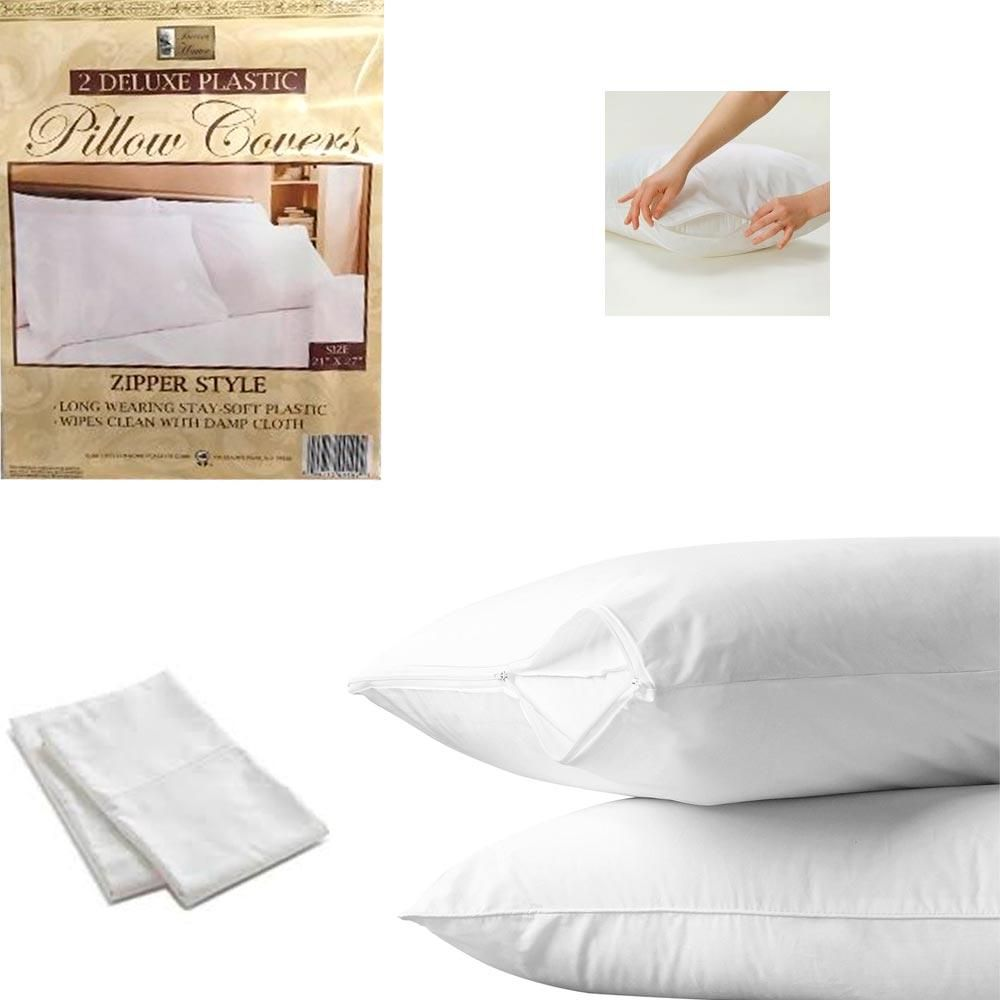 plastic mattress cover. 2 White Hotel Pillow Plastic Cover Case Waterproof Zipper Protector Bed Mattress