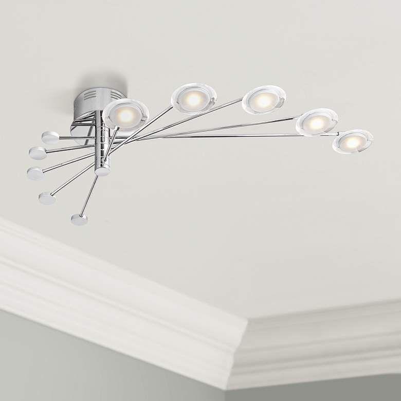 Cressida 36 1 4 Wide Adjustable Chrome Led Ceiling Light 8f480