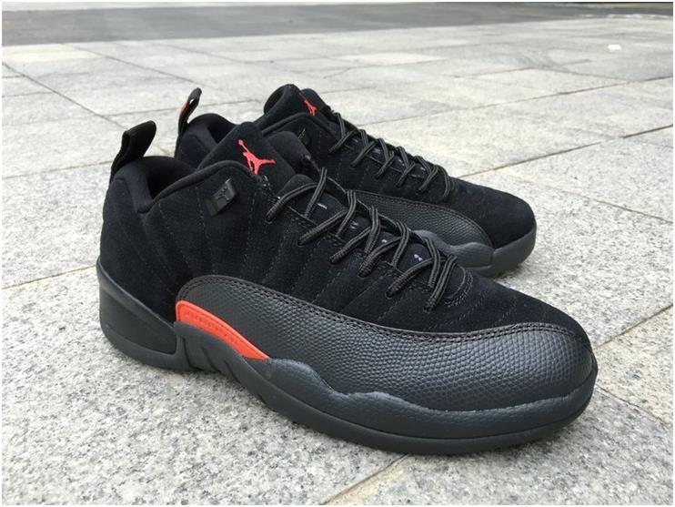 8c296f40b Nike Air Jordan Retro XII 12 Low Black Max Orange Men Shoes 308317-0036