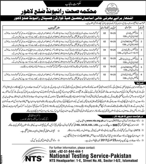 Health Department Raiwind Lahore Jobs 2017 recently
