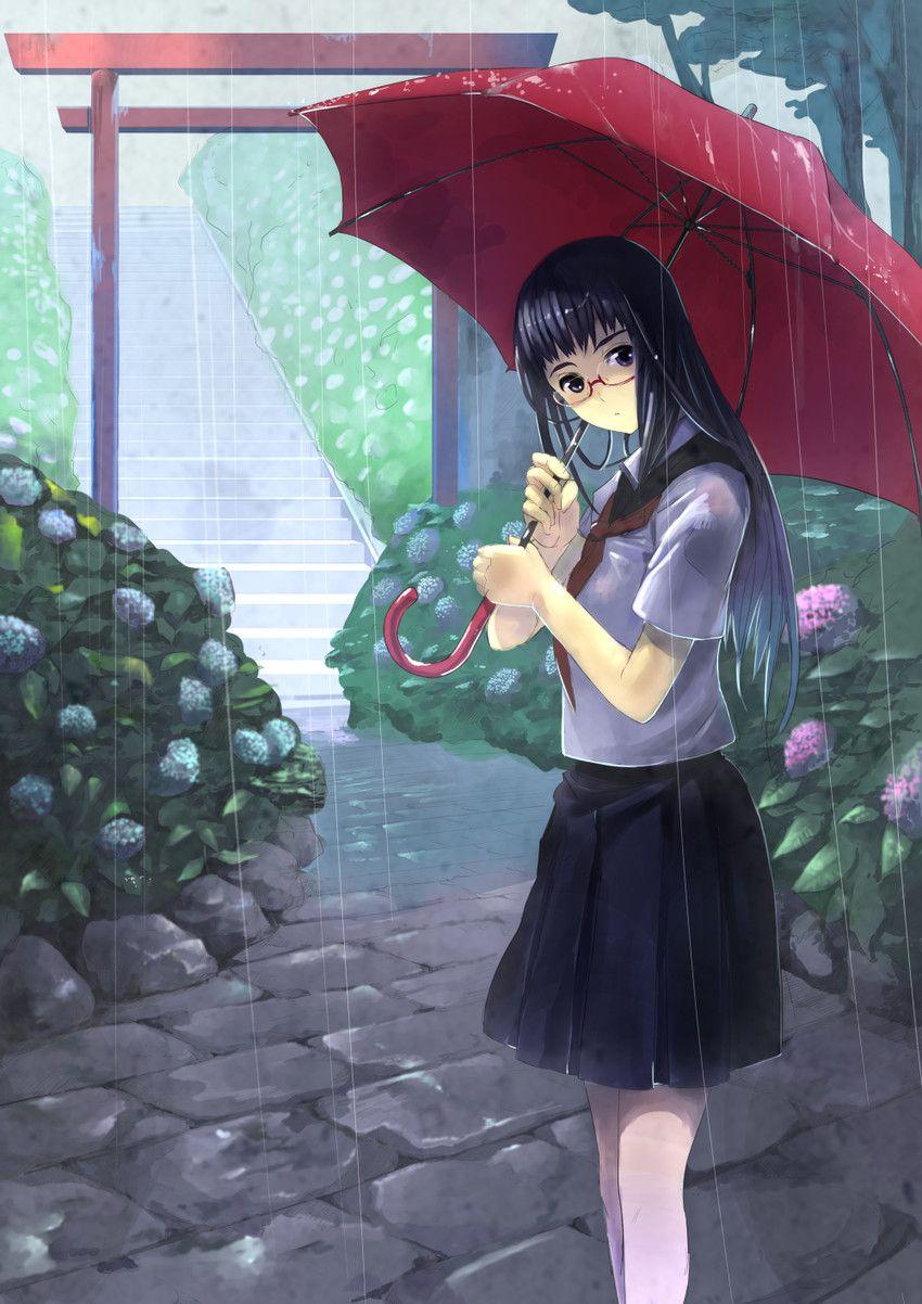 anime art in the rain hool uniform ifuku