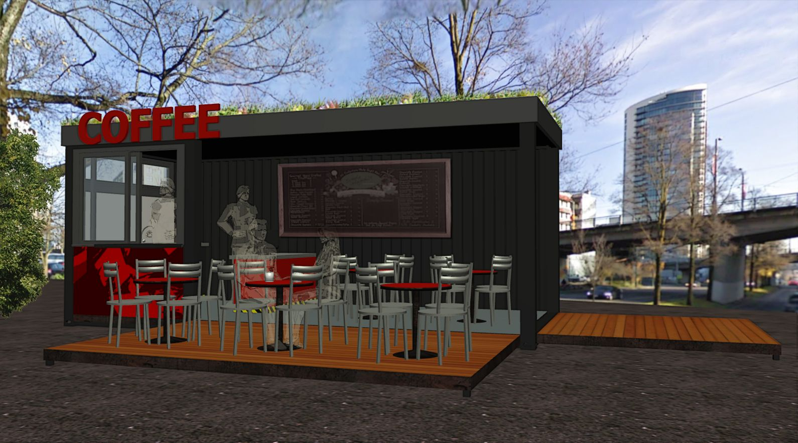 Container used for a coffee house concept this is the