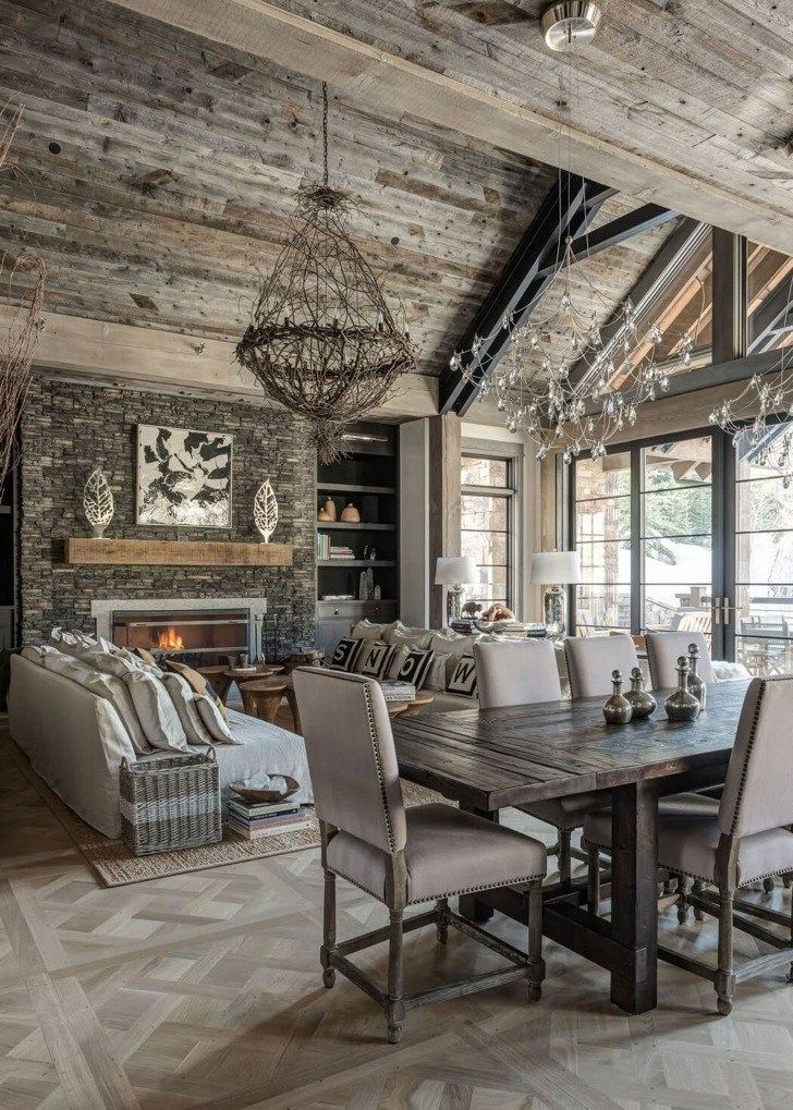 Modern Chalet Design in the USA. Living room. Fireplace. Wood ...