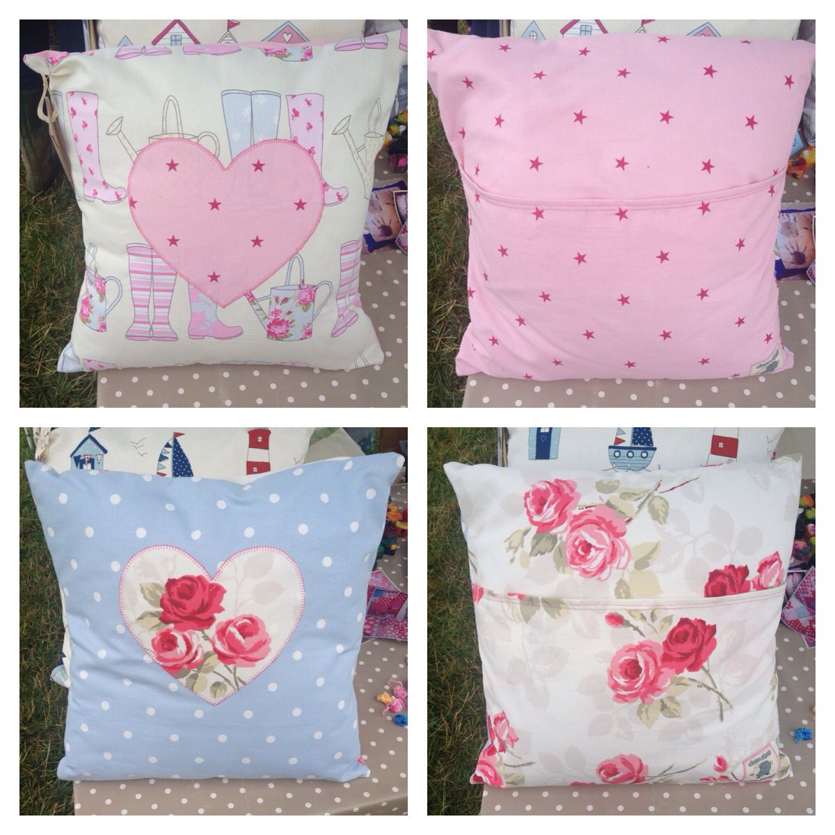 Homemade cushions with contrasting front and back. Simple envelope ...