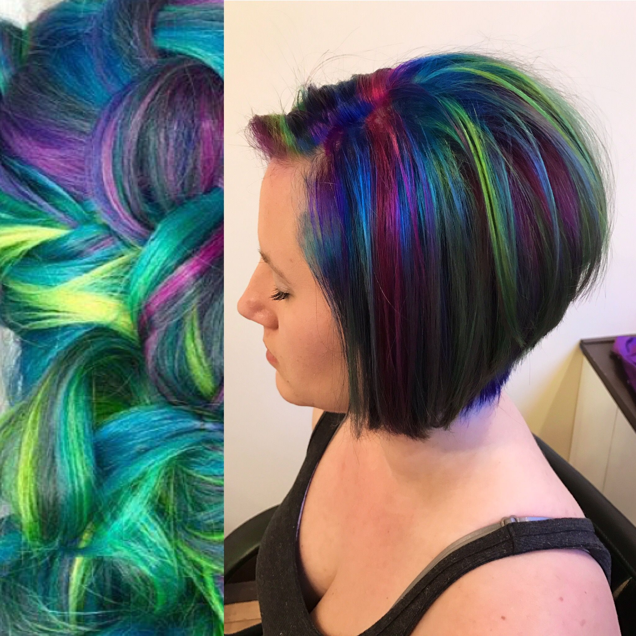 2019 year for girls- Purple and green hair highlights