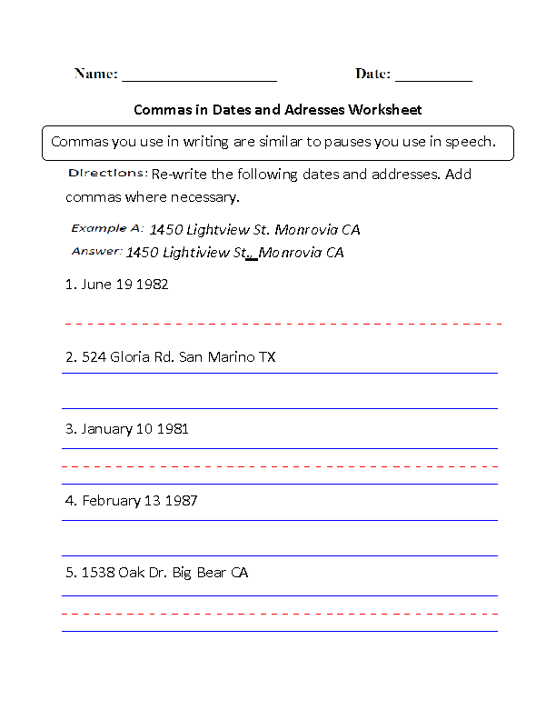 Commas In Dates And Addresses Worksheet Englishlinx Com