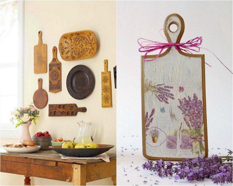 Holz Schneidebretter als Wanddeko in der Küche Photography