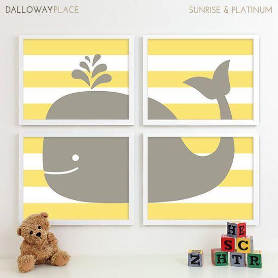 Whale Nursery Art, Gray Yellow Nursery Decor, Ocean Baby Room ...