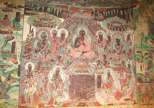 The well preserved murais in Western Thousand-Buddha Cave, Dunhuang, China
