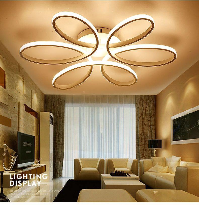 Pas Cher Nouveau Blanc Led Lustres Modernes Lamparas Lampe Pour Chambre  Salon Luminaire Éclairage Intérieur Lustres