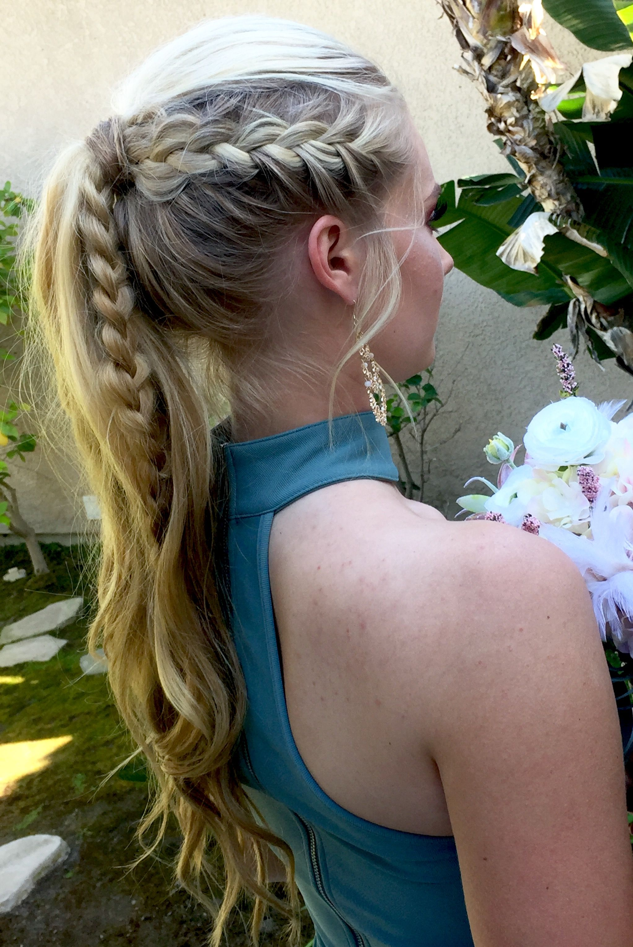 Braid pony tail prom hair formal wedding updo hair by kelly phillips