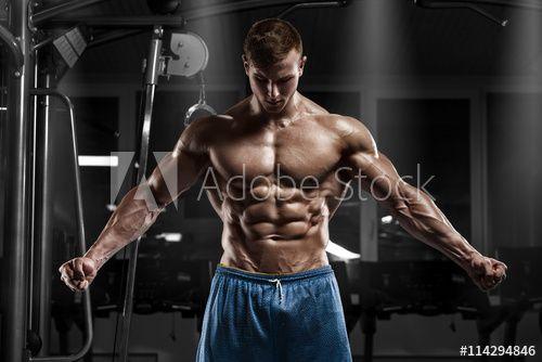 Sexy bodybuilder with perfect naked torso posing.の写真素材 [59743052] - PIXTA