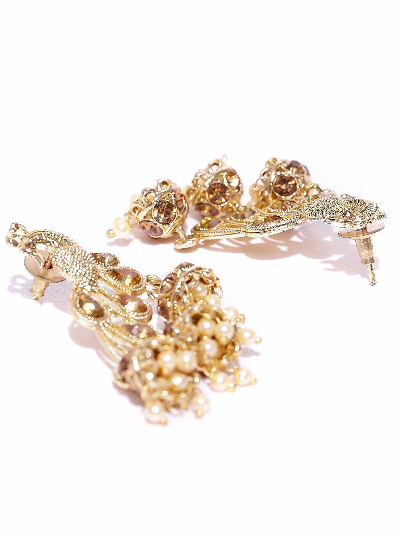 Zaveri pearls mesmerising gold tone peacock with jhumki drops