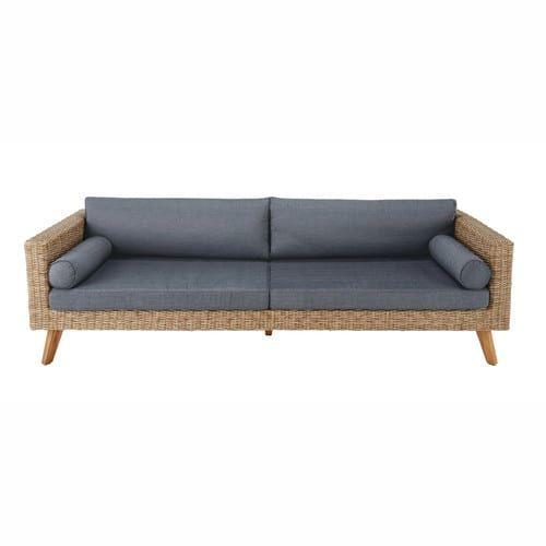 Sofá de jardín 3/4 plazas de resina trenzada y tela antracita ...