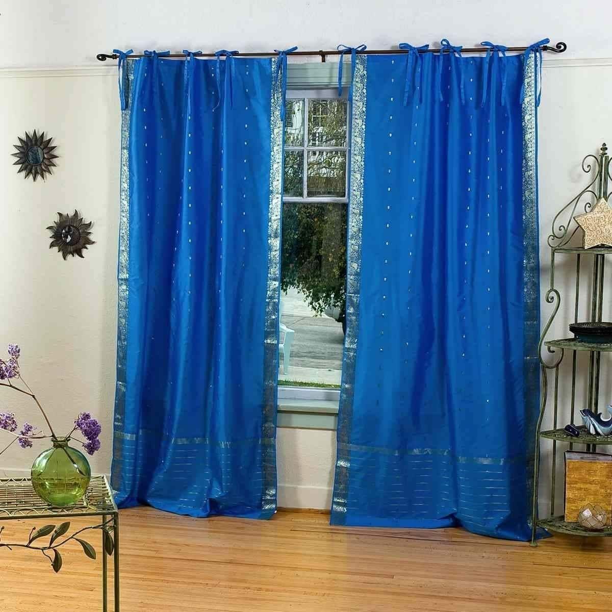 Indian selections enchanting blue tie top sheer sari curtain drape