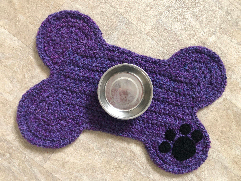 Purple Dog Bone Place Mat Paw Print Personalized Dog Food Bowls Placemat Dog Pet Crate Mat Crochet Dog Bone Rug Mat Standard Size In 2020 Dog Bone Pet Crate Paw Print