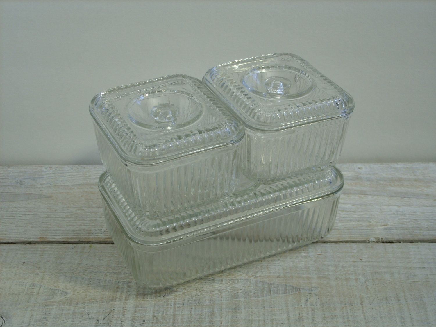 Vintage Clear Glass Refrigerator Dish Set Vegetable Butter