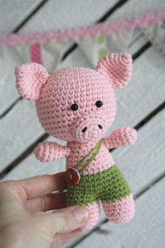 Little pig | Blumen aus Knöpfen, Amigurumi häkeln und Häkeltiere