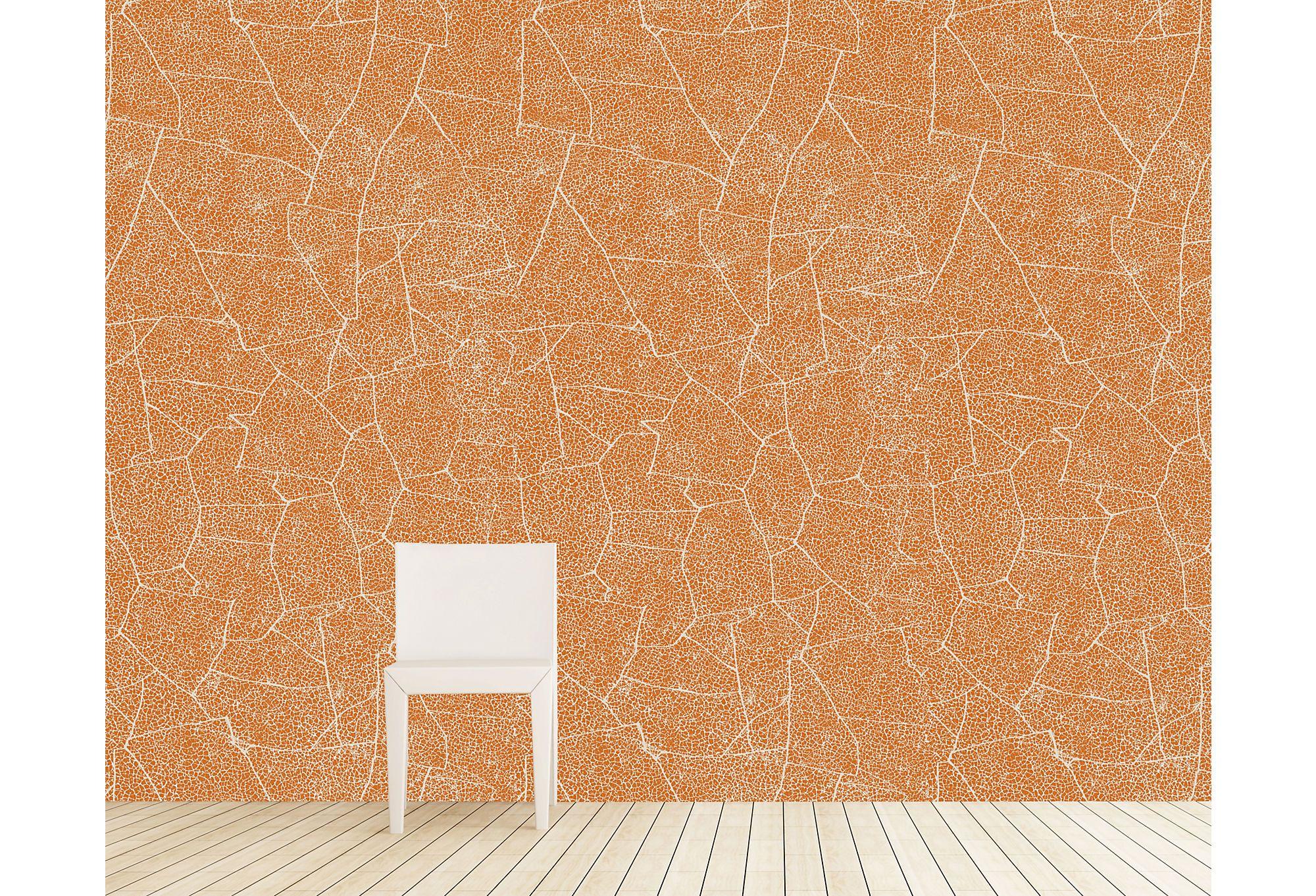 Crackle Wallpaper, Persimmon w/Cream