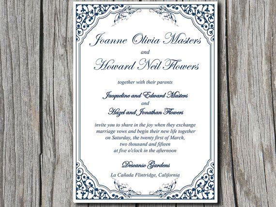 Vintage Vines  - microsoft invitation templates