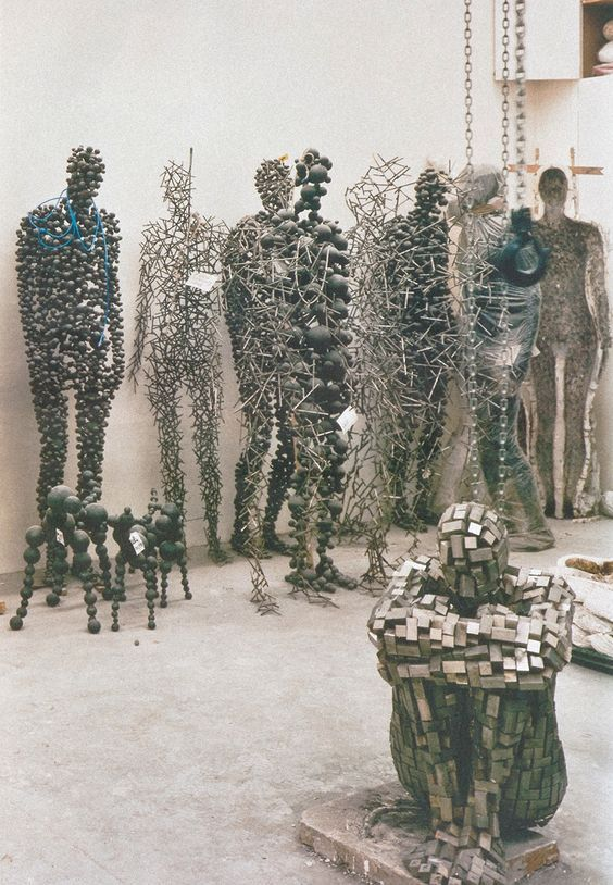 """Antony Gormley, sculptures from """"Domains"""", """"Bodies in Space"""" and """"Apart"""" at his studio, 2003:"""