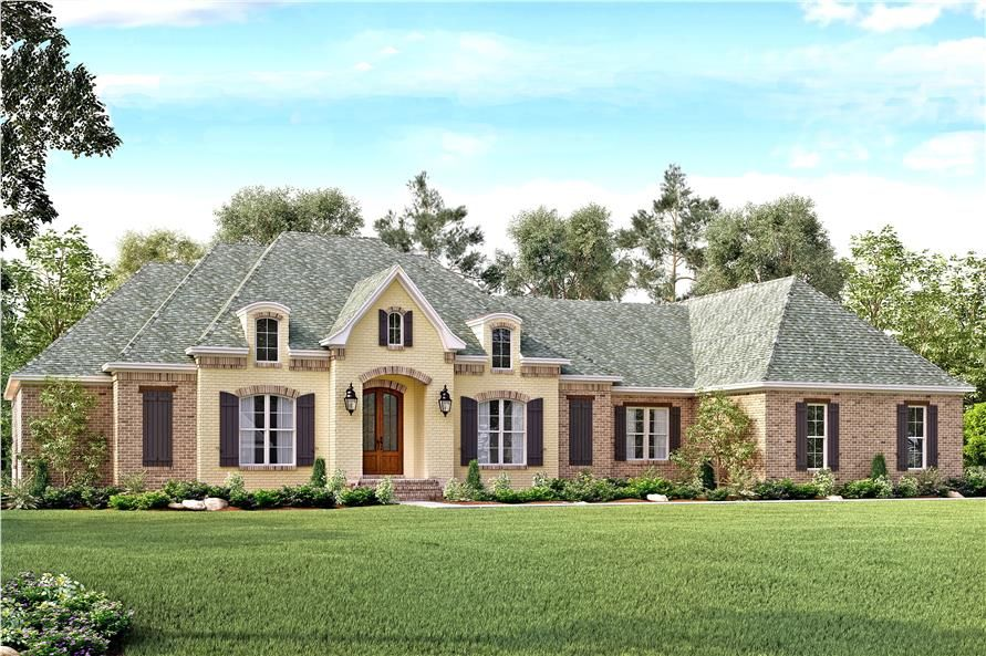 Front elevation of European home (ThePlanCollection: House Plan #142 ...