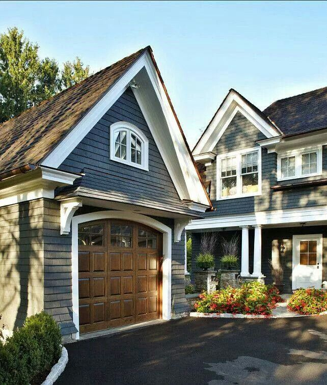 Slate Blue And Warm Wood Exterior House Colors House Paint Exterior Exterior Paint Colors For House