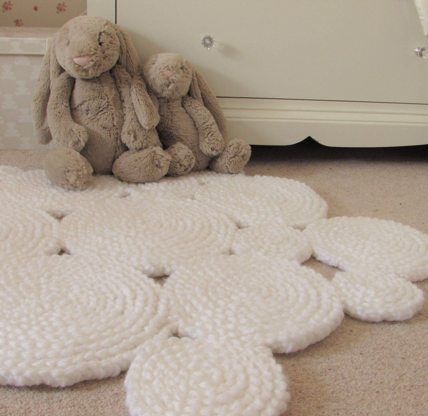 Excited To Share The Latest Addition My Etsy White Rug Nursery Circle Crochet Neutral Round Ready Ship