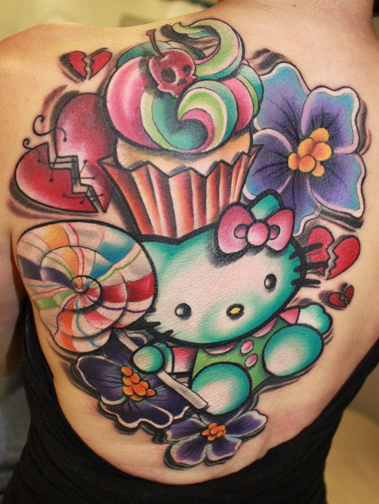 35 Cute Crazy Hello Kitty Tattoo Design Hello Kitty Tattoos Cupcake Tattoos Girly Tattoos