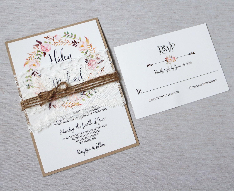 Floral Wedding Invitation, Lace Wedding Invitation, Vintage Wedding ...