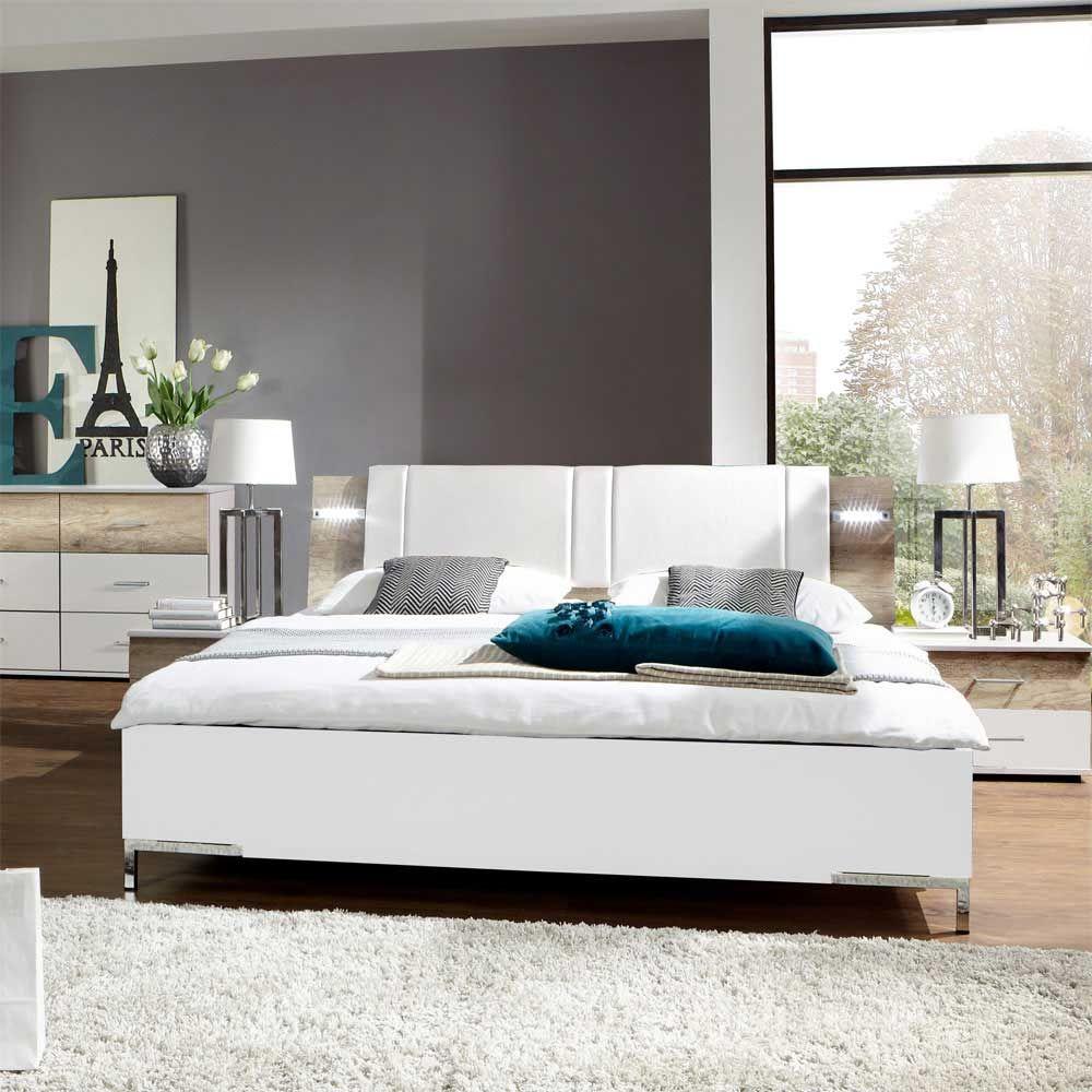 Doppelbett in Weiß mit Polsterkopfteil Jetzt bestellen