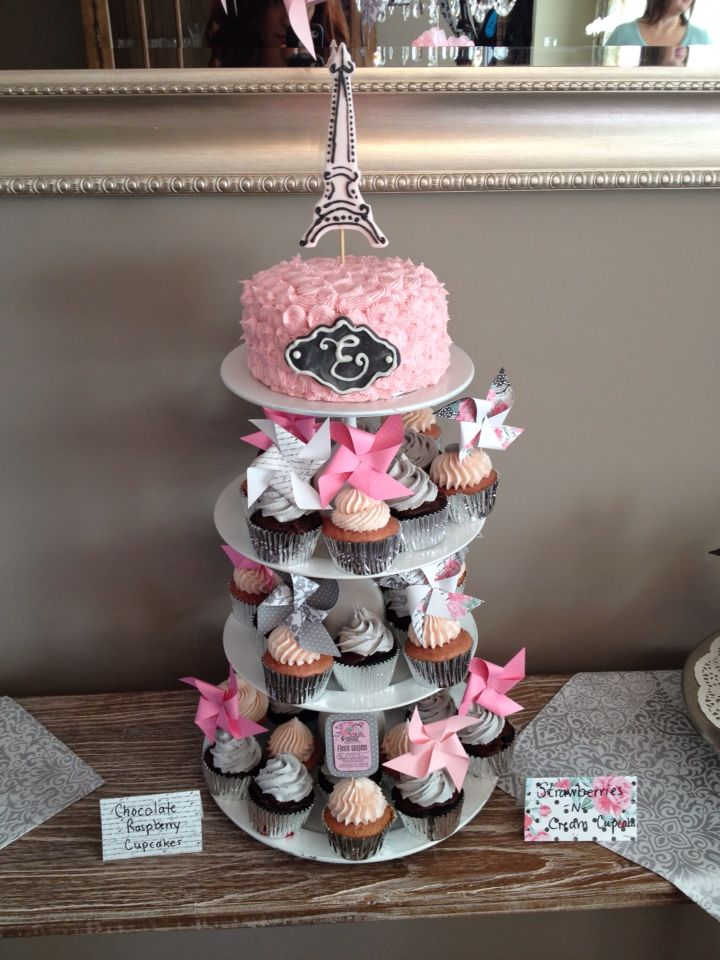 Pink and grey Parisienne baby shower cake and cupcakes