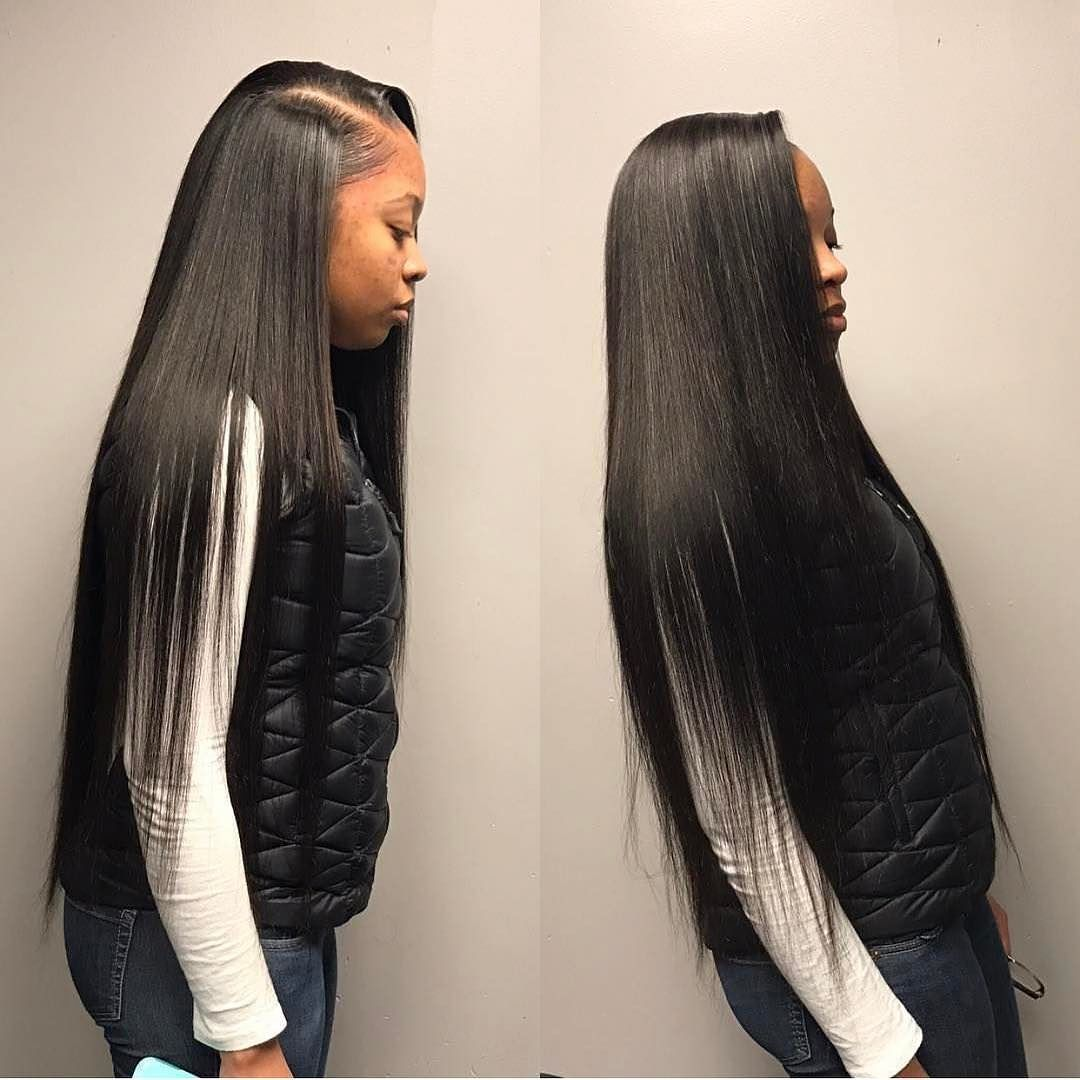 kemsxdeniyi @fam0uskaay straight hair weave side part virgin