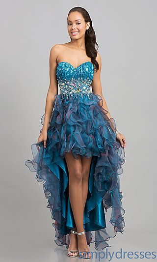 High Low Strapless Sweetheart Dress at SimplyDresses.com