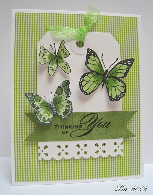 butterflies thinking of you tag card