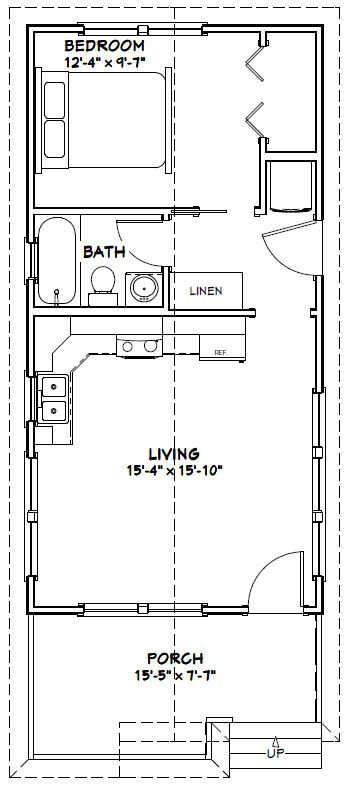 16x32 Tiny House 511 Sq Ft Pdf Floor Plan Model 1w Tiny House Floor Plans Cabin Floor Plans House Plans
