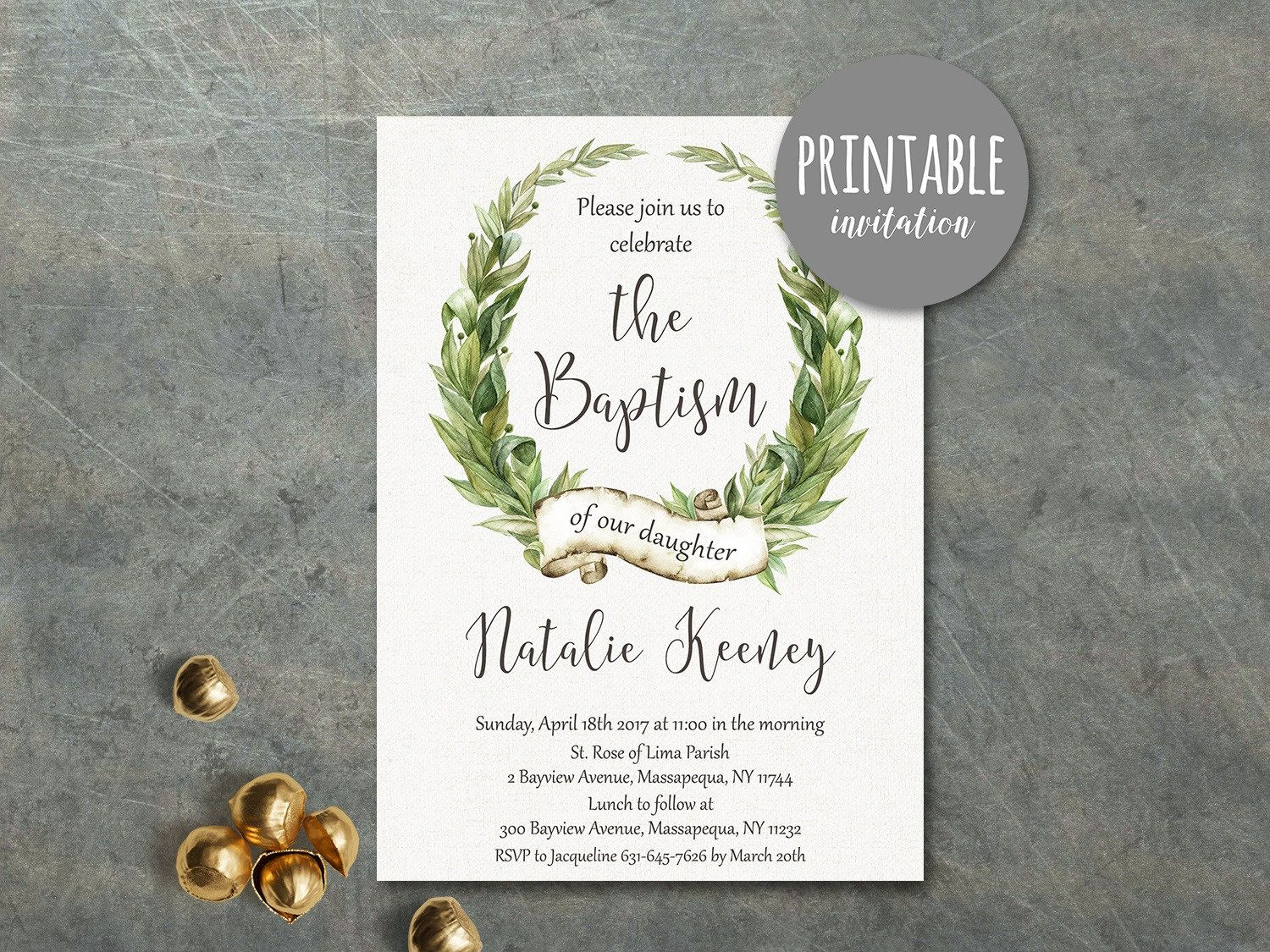 printable samples of wedding invitations%0A Printable Baptism Invitation Girl Baptism Invitation