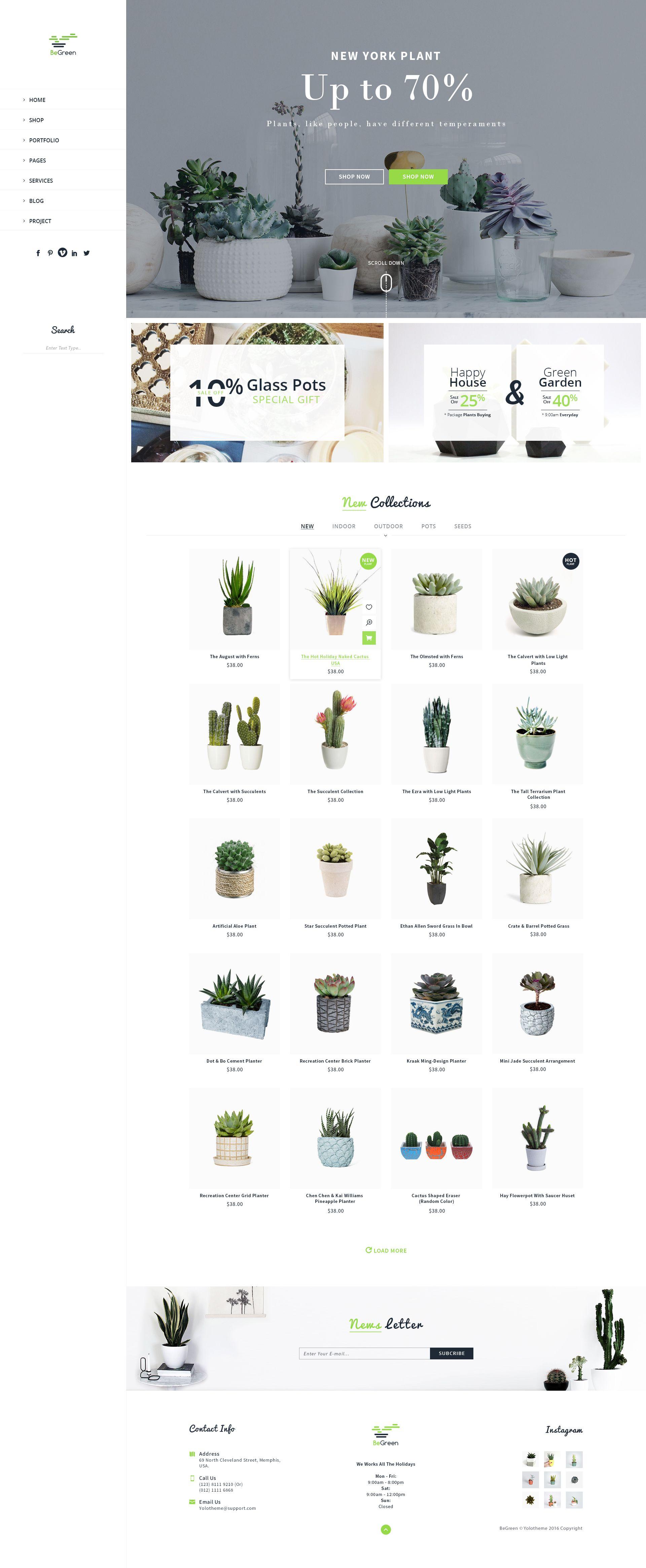BeGreen Multipurpose Planter PSD Template by YoloPSD