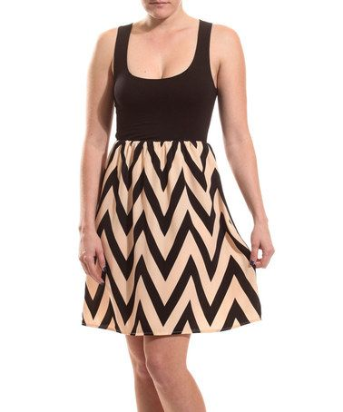 Black & Beige Zigzag Fit & Flare Dress by Coveted Clothing #zulily #zulilyfinds
