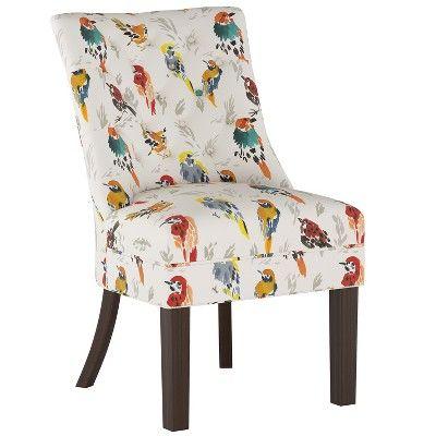 Wales Rollback Tufted Turned Leg Slipper Chair Talc Linen