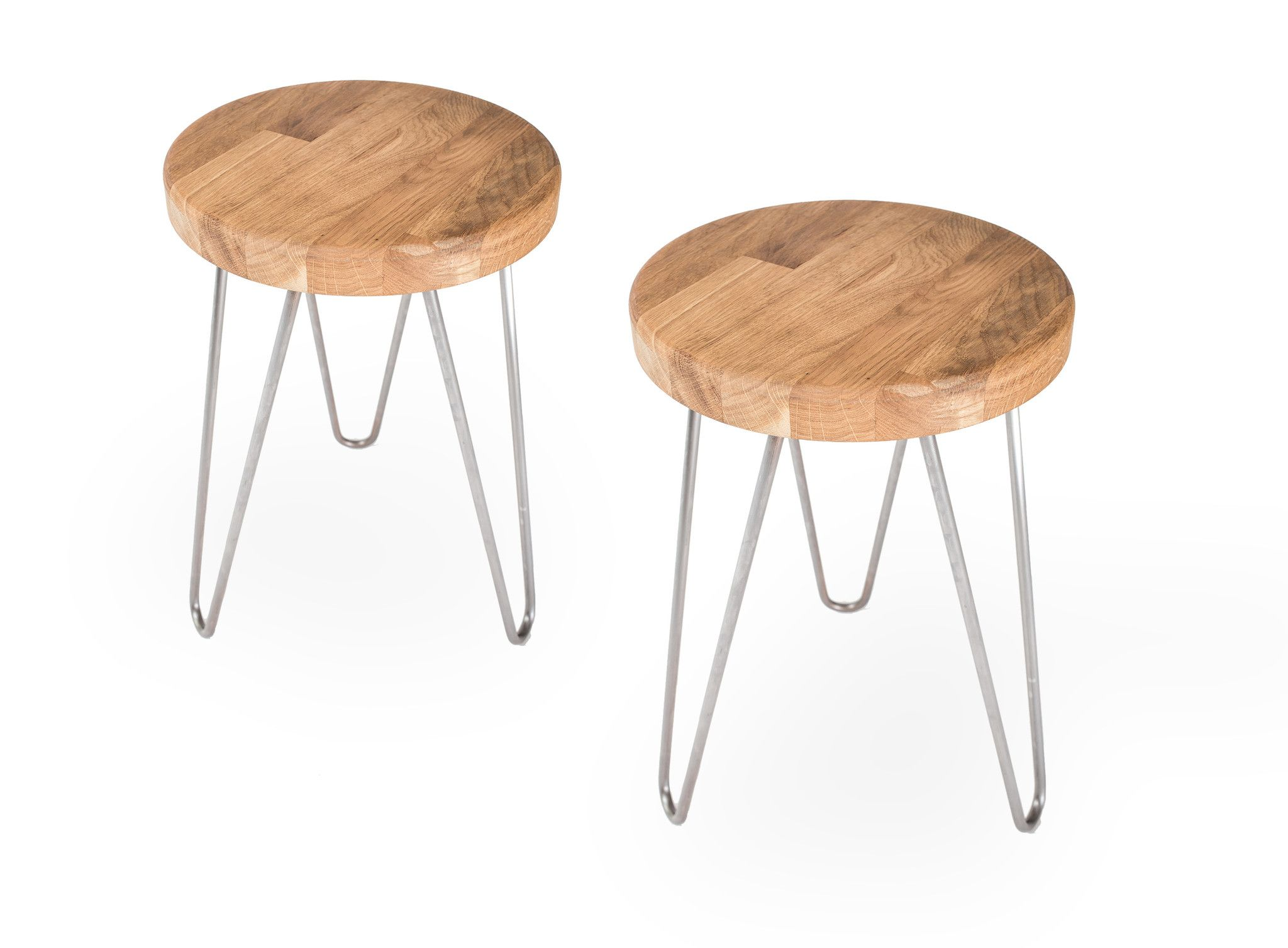 Oak stools- The Hairpin Leg co  sc 1 st  Pinterest : wooden legs for stools - islam-shia.org