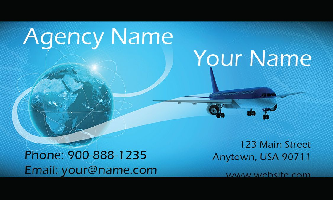 Airplane and Globe Travel Agent Business Card - Design #901051 | My ...