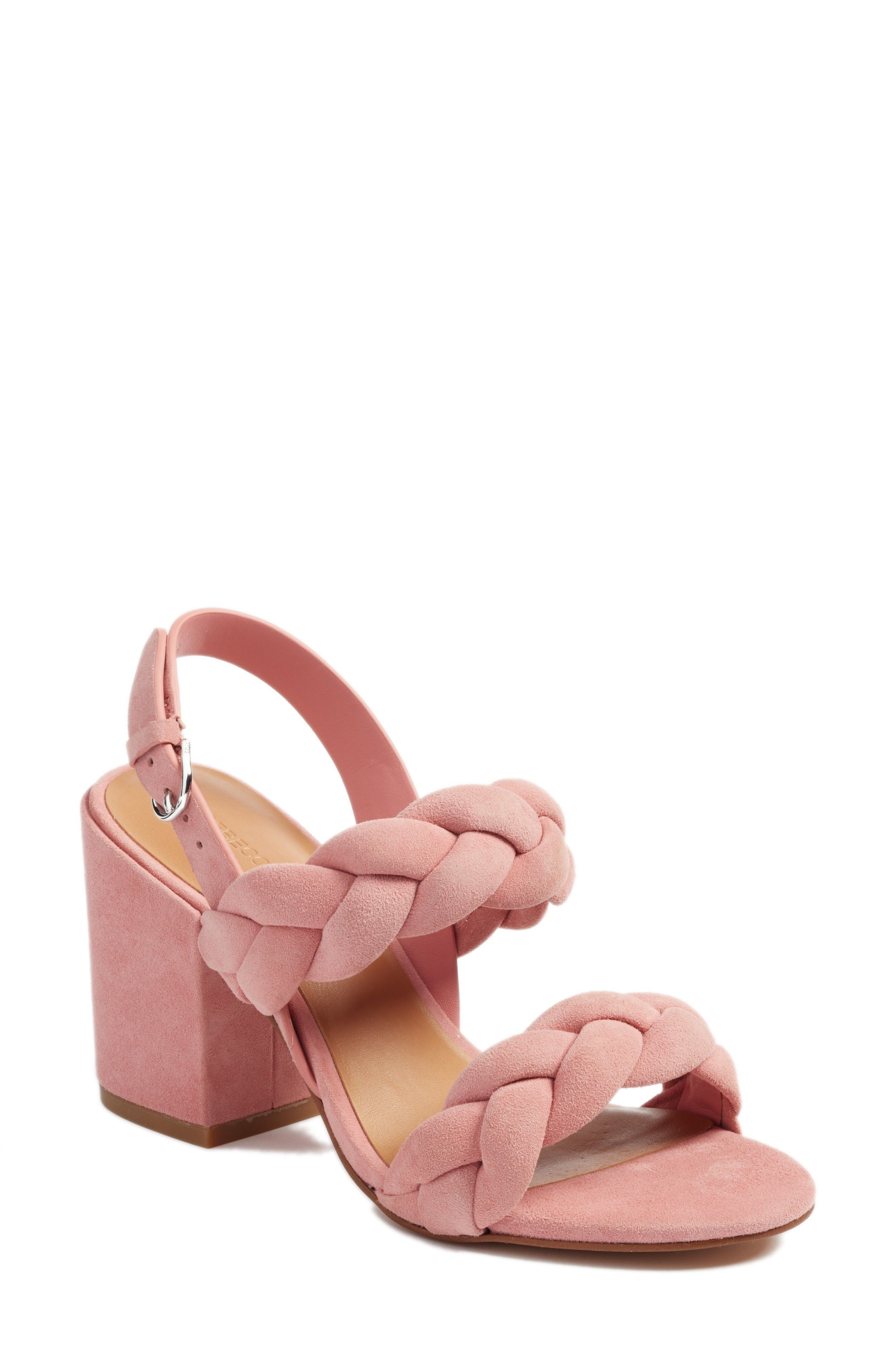 7749c0bb9f26 Rebecca Minkoff Candance Block Heel Pink Suede Braided Sandal from  Nordstrom